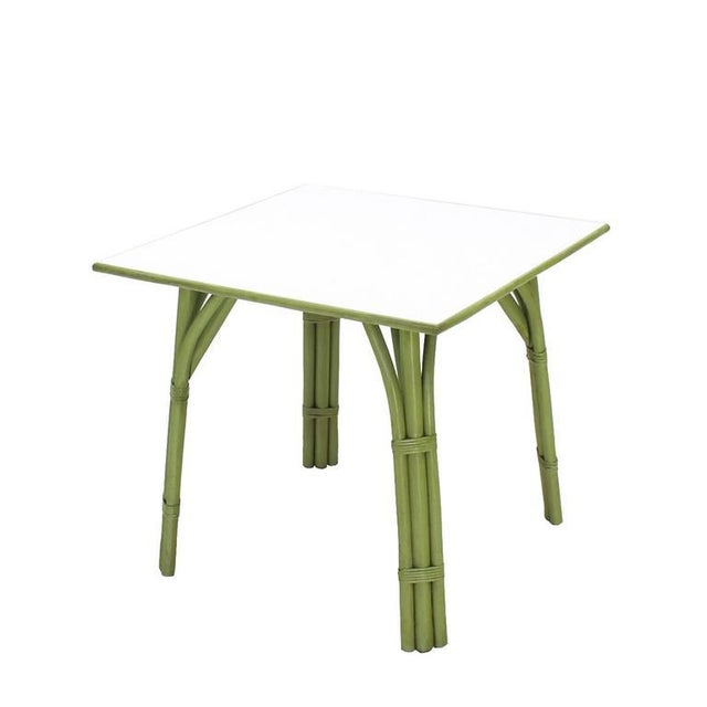 Mid-Century Modern Square Game Table and Four Chairs Green Faux Bamboo Rattan For Sale - Image 3 of 11