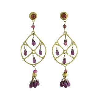 18k Gold and Faceted Pink Tourmaline Drop Pierced Earrings For Sale