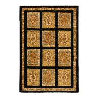 Kafkaz Peshawar Rosalina Black/Gold Wool Area Rug - 3'1 X 4'10