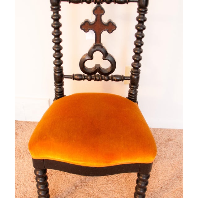 Stunning 1880s orange crushed velvet French styled prie-dieu. It is in beautiful Condition for its age. It has a tiny bit...