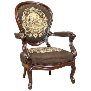 19th Century Louis Philippe Mahogany Armchair Upholstered with a Tapestry For Sale