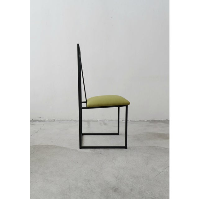 Black Set of 6 Postmodern Memphis Milano Minimalist Style Dining Chairs For Sale - Image 8 of 10