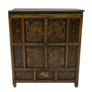Chinese Hand Painted Elmwood Dragon Cabinet For Sale