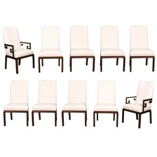 1970s Set of Ten Parsons Style Dining Chairs by Baker For Sale