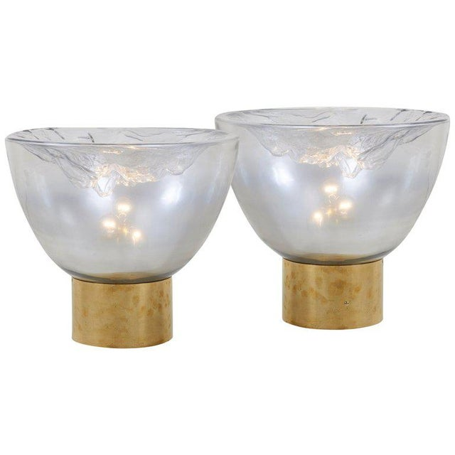 Impressive Huge Pair of Murano Glass and Brass Table Lamps For Sale - Image 13 of 13