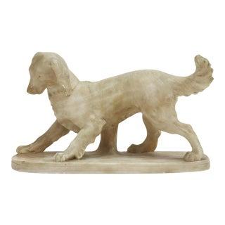1970s Spaniel Dog Sculpture of Carved Alabaster For Sale