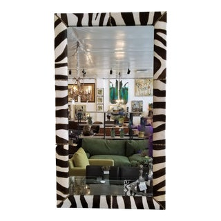 Zebra Skin Mirror With Nailhead Design For Sale