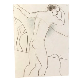1990s Vintage Double Sided Male Nude Drawing