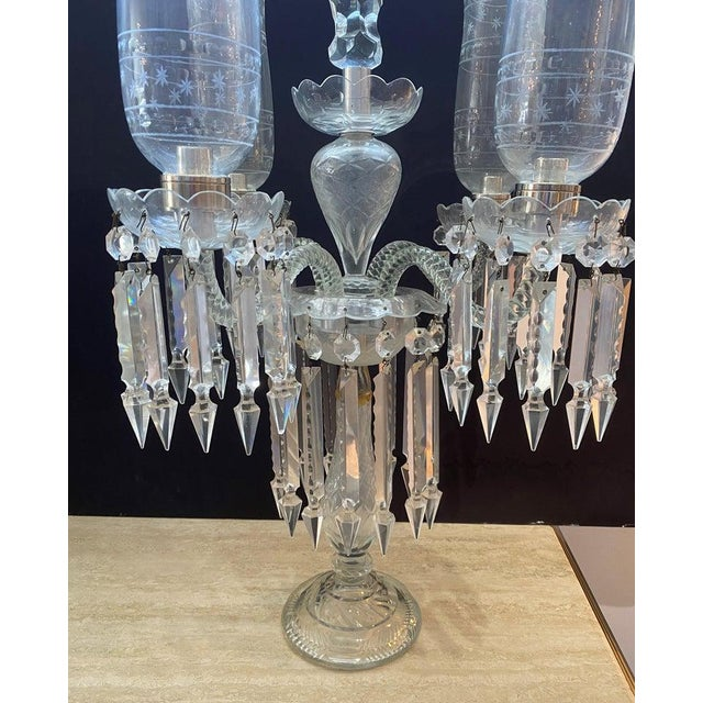 "Cut-Crystal Girandole Baccarat Style, French Regency 19c 33"" High For Sale - Image 10 of 13"