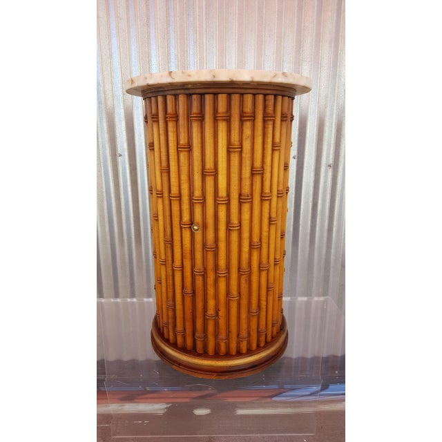 Faux Bamboo Marble Topped Cylindrical End Table - Image 2 of 6