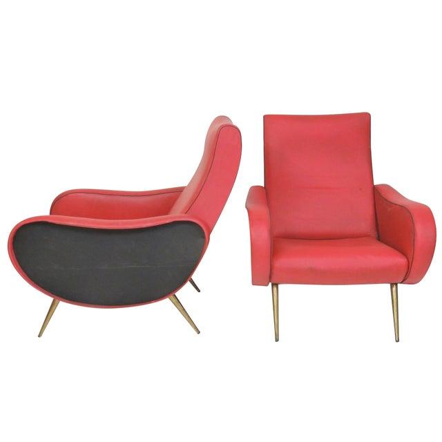 Zanuso Style Metal Leg Lounge Chairs - Pair - Image 1 of 6