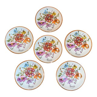 Vintage Gucci Porcelain Wildflower Trinket Dishes - Set of 6 For Sale
