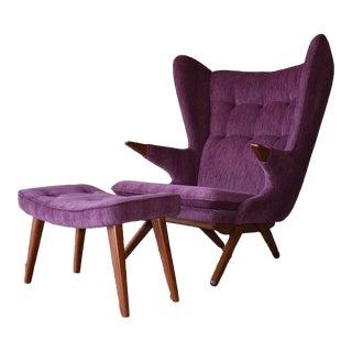 Royal Purple Papa Bear Styled Mid Century Modern Lounge Chair + Ottoman For Sale