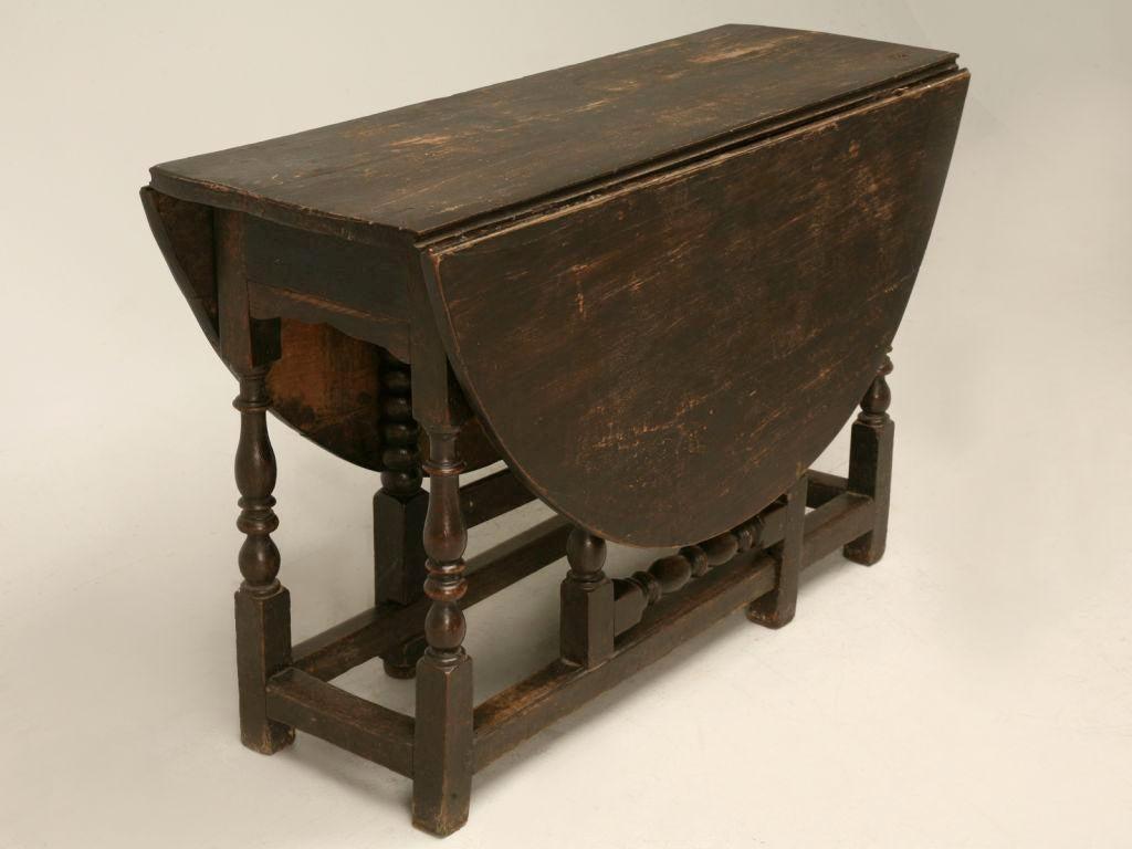 C.1820 Primitive English Drop Leaf Oak Gate Leg Farm Table   Image