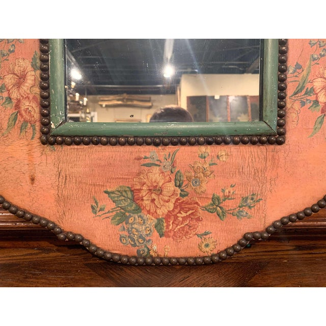 French Early 20th Century French Napoleon III Hand Painted Wall Mirror For Sale - Image 3 of 9