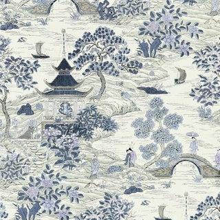 Scalamandre Satomi Hand Block Print Fabric Sample For Sale