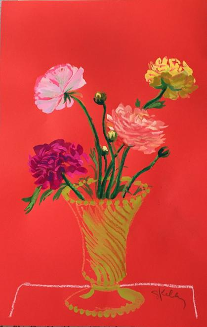 225 & Flowers on Crimson Ground in McCoy Vase Painting by Gretchen Kelly