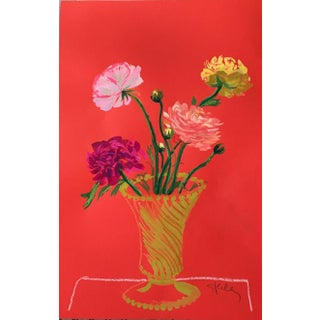 Flowers on Crimson Ground in McCoy Vase Painting by Gretchen Kelly For Sale