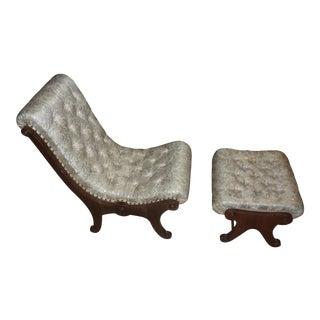 Mid Century Vintage Japanese Obi Silk Slipper Chair For Sale