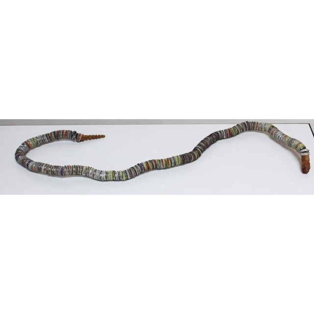Folk Art Carved Wood and Bottlecap Snake after Felipe Archuleta - Image 8 of 10