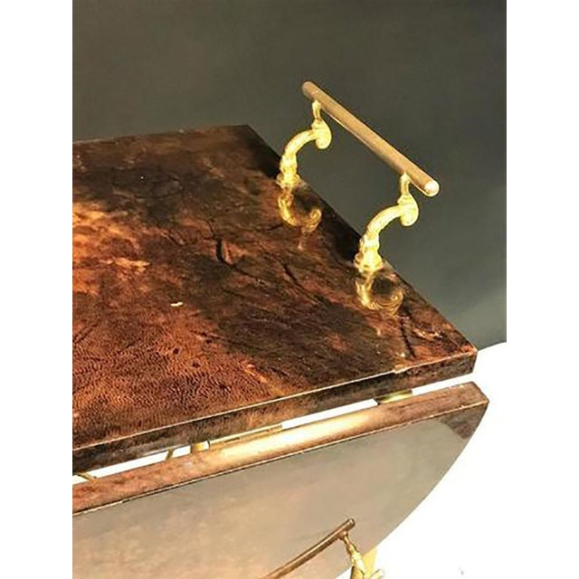 Aldo Tura Unusual and Stunning Chocolate Goatskin Bar Cart by Aldo Tura For Sale - Image 4 of 9
