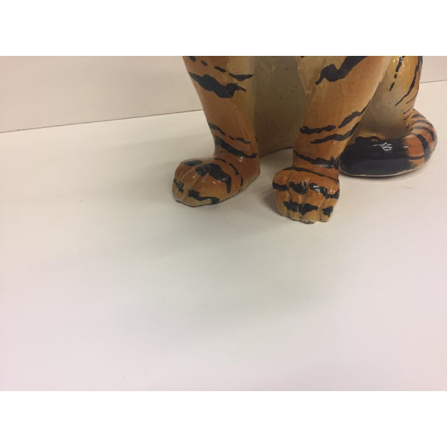 1970s Italian Terracotta Seated Tiger Sculpture For Sale - Image 5 of 11