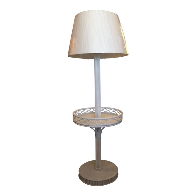 1930s Pencil Reed Floor Lamp Table For Sale