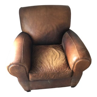 1990s Vintage Pottery Barn Manhattan Leather Classic Armchair For Sale