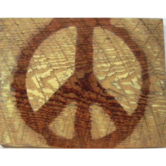 1960s Hanging Georgia Barn Wood Pyrographed Peace Sign For Sale - Image 4 of 4