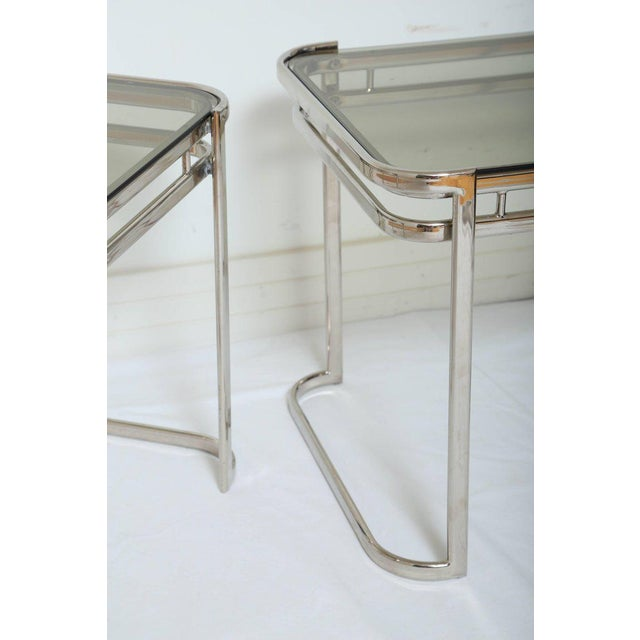 Pair of Italian Mid-Century Modern Chrome Side Tables For Sale - Image 10 of 12