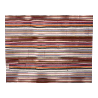Modern Style Vintage Turkish Jajim Kilim Flat-Weave Rug With Colorful Stripes For Sale