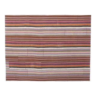 Modern Style Vintage Turkish Jajim Kilim Flat-Weave Rug With Colorful Stripes