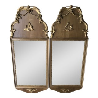 Swedish Baroque Partial Gilt Mirrors - a Pair For Sale