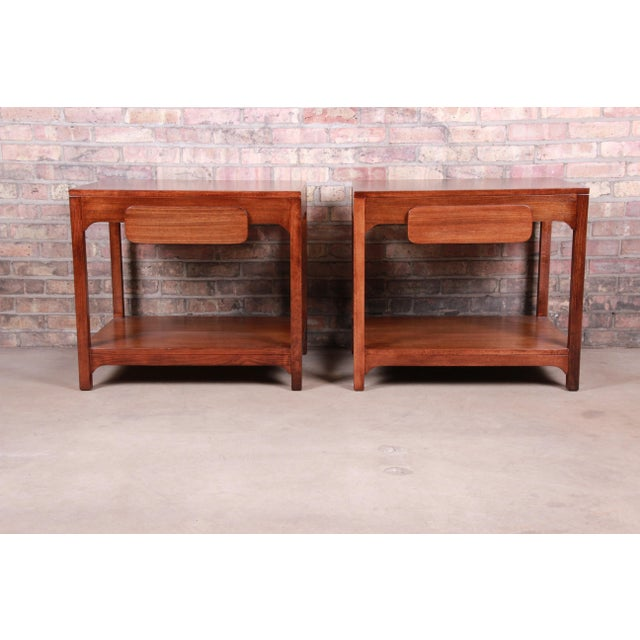 Edward Wormley for Drexel Precedent Mid-Century Modern Nightstands or End Tables, Newly Refinished For Sale - Image 13 of 13