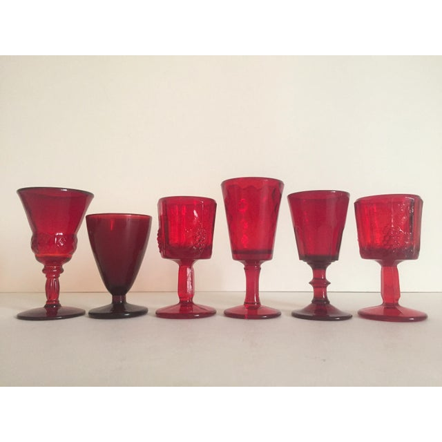 Vintage Mid-Century Ruby Red Wine Glasses - Set of 6 - Image 9 of 9