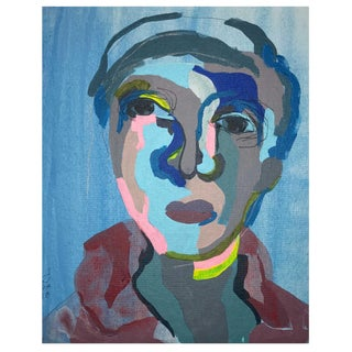 "Contemporary Abstract Portrait Painting ""Dreamy Blue Boy, No. 2"" - Framed For Sale"