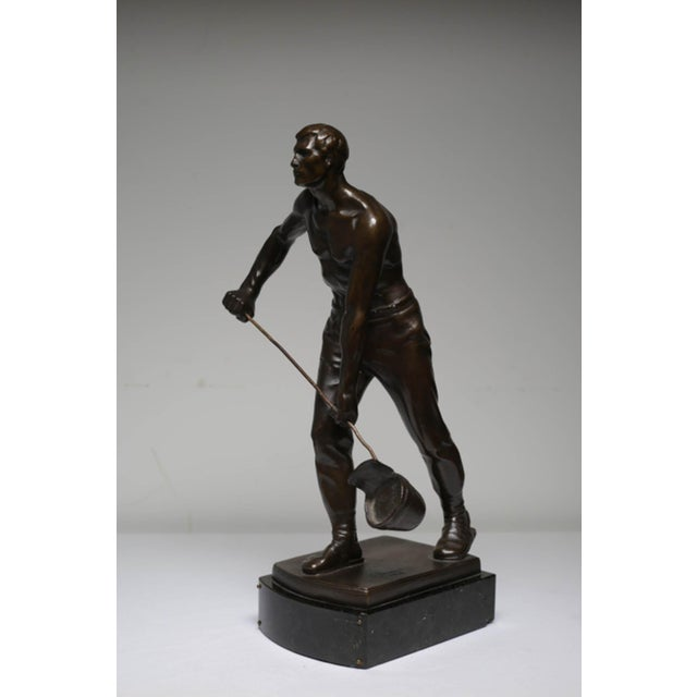 Traditional Early 20th Century Bronze Steel Worker Figure on Marble Signed by Artist For Sale - Image 3 of 8