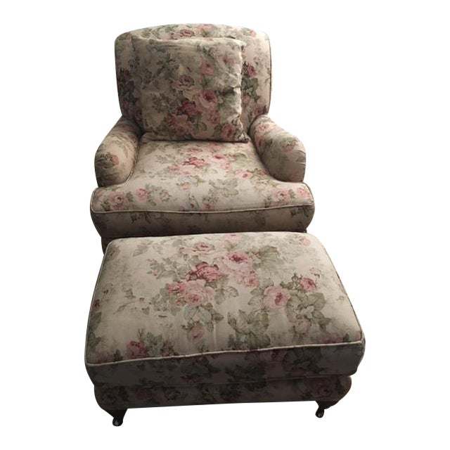 Lee Industries English Style Armchair & Ottoman For Sale