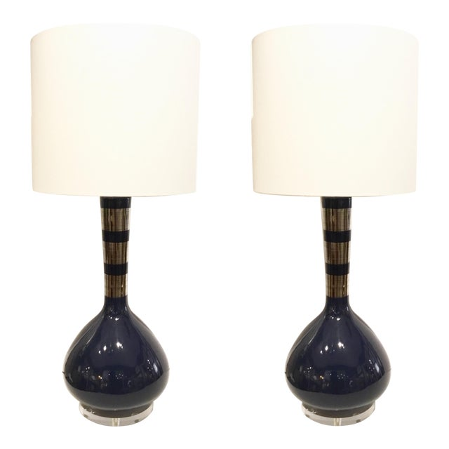 Modern Indigo Blue and Silver Banded Metallic Glazed Table Lamps Pair For Sale