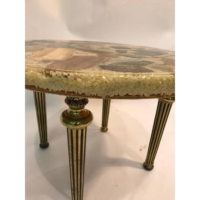 UNUSUAL ITALIAN SPECIMEN SIDE OR ACCENT TABLE WITH STONE TOP AND BRASS LEGS For Sale - Image 4 of 8