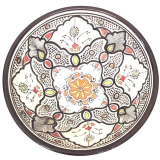 Moroccan Hand-Painted Large Brown Ceramic Bowl For Sale