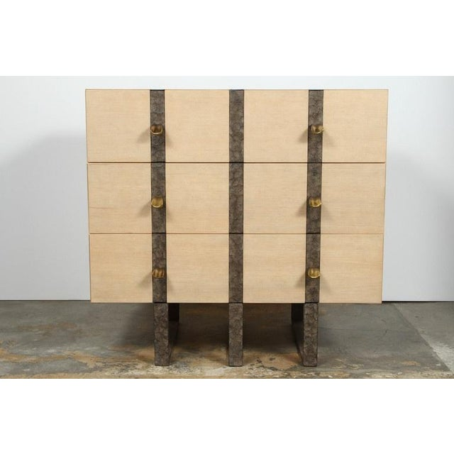 White Paul Marra Three-Drawer Banded Chest in Bleached Douglas Fir and Inset Iron Band For Sale - Image 8 of 10