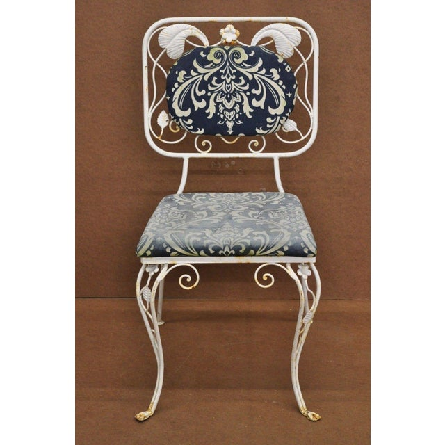 Vintage French Art Nouveau Wrought Iron Floral Dining Chairs - Set of 4 For Sale - Image 11 of 13