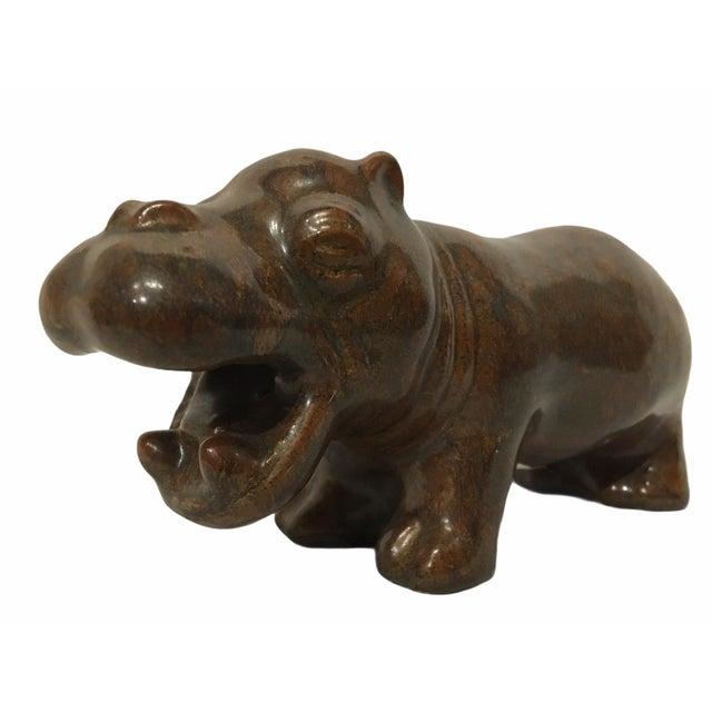 Rare ceramic hippo figurine by L. Hjorth of Denmark. Designed by Gertrud Kudielka (1896 - 1984) for Hjorth, this Danish...