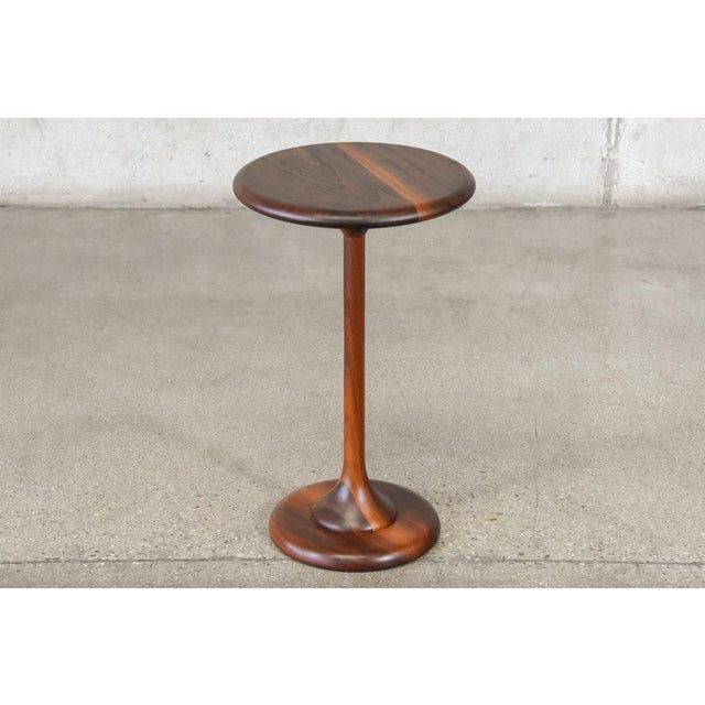 Small Walnut Pedestal Base Side Table - Image 6 of 6