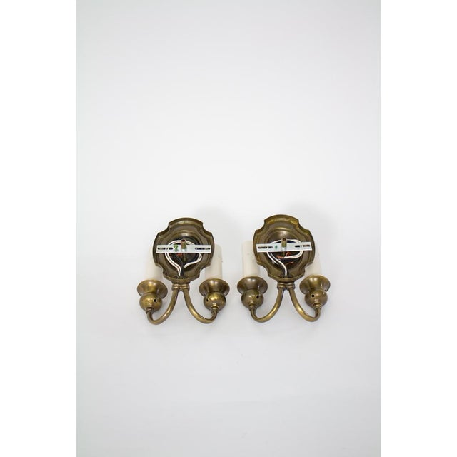 1920's Traditional Double Arm Brass Sconces - a Pair For Sale - Image 4 of 5