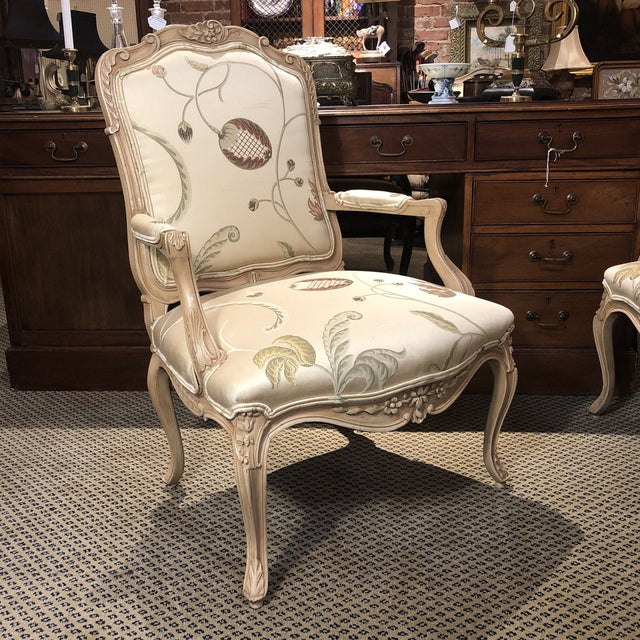French Louis XV Rococo Style Fauteuils, or open arm chairs, with Polychrome Painted Finish And contemporary floral Tabriz...
