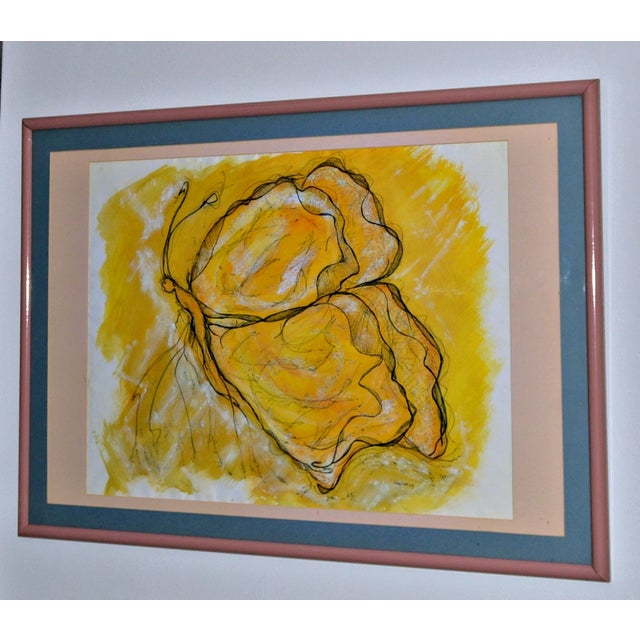 """""""Butterfly in Yellow"""" Original Drawing by German For Sale - Image 4 of 4"""