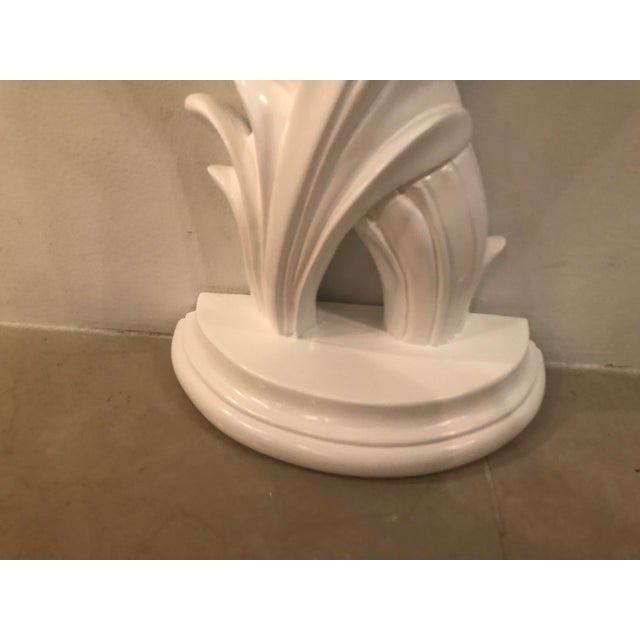 1970s Vintage Palm Frond Leaf White Lacquered Wall Console Table For Sale - Image 5 of 12