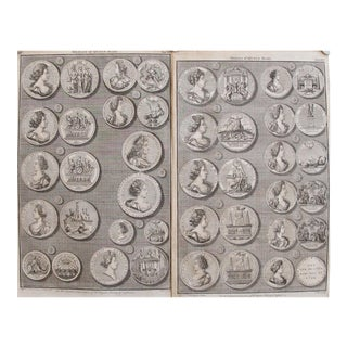 Original 1745 British Engravings, Medals of Queen Mary - A Pair For Sale